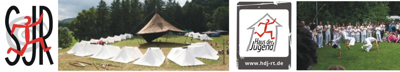 Banner der Homepage des Stadtjugendrings mit Bild eines Zeltlagers