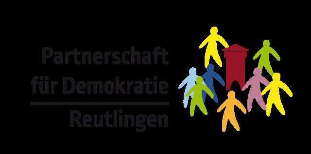 Logo der Partnerschaft für Demokratie | Reutlingen mit einem stilisierten Tübinger Tor und menschen in verschiedenen Farben