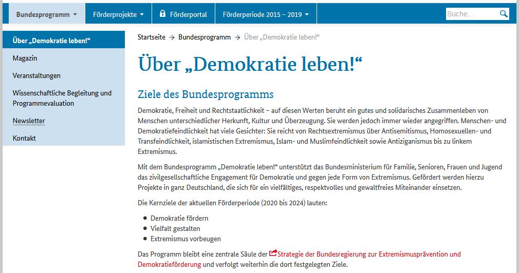 Screenshot einer Unterseite des Bundesprogramms Demokratie leben!: https://www.demokratie-leben.de/bundesprogramm/ueber-demokratie-leben.html