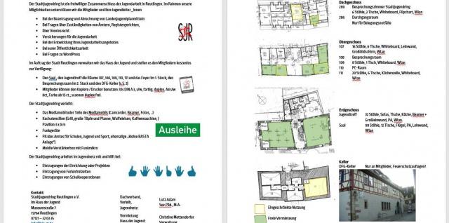 Screenshot der Arbeitshilfe für Mitglieder des Stadtjugendrings über Arbeitsinhalte und Angebote des SJR für seine Mitglieder.